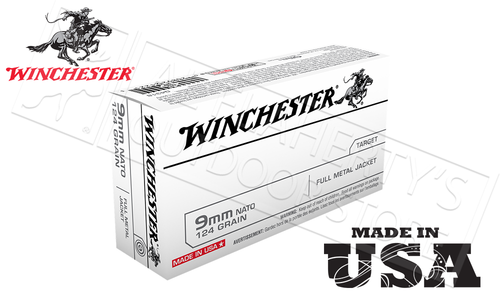Winchester 9mm NATO Standard White Box, FMJ 124 Grain Box of 50 #Q4318