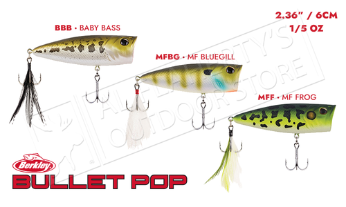 Berkley Bullet Pop Topwater Popper Size 60 - Various Patterns 60mm 1/5 oz #BHBBP60