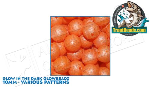 TroutBeads.com GlowBeadz, 10mm Packs of 10, Various Patterns #GL/10