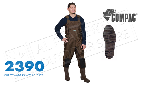 Compac PVC Chest Wader with Cleated Sole - Various Sizes #2390