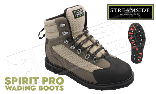 Streamside Spirit Pro Wading Boots with Rubber Treads and Removable Metal Studs, Sizes 8-13 #5600P
