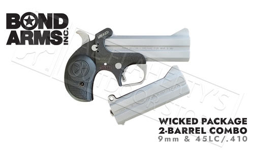 Bond Arms Wicked Derringer 9mm Pistol 2-Shot Package with 45/410 Conversion #BAJW-PACKAGE