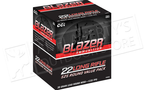 CCI Blazer Bulk Pack 22LR Target Ammunition, 40 Grain, High Velocity, Pack of 525 #10022