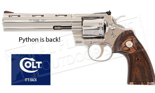 """Colt Python 357 with 6"""" Barrel Stainless Steel #PYTHON-SP6WTS"""