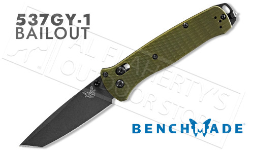 Benchmade 537 Bailout Tanto Folding Knife Woodland Green Grip #537GY-1