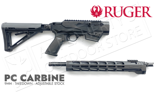 """Ruger PC Carbine 6-Position Stock, Handguard Non-Restricted, 9mm 18.6"""" Barrel #19125"""