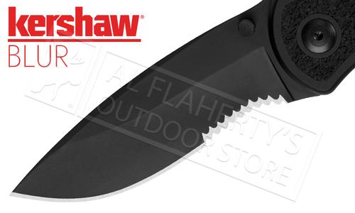 Kershaw BLUR Folding Knife Black with Serrated Edge #1670BLKST