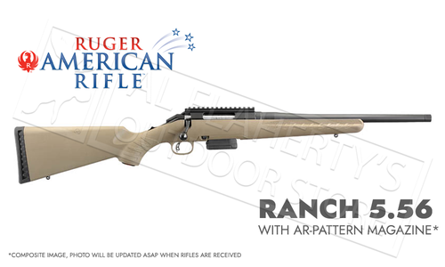 Ruger American Ranch Rifle FDE in 5.56 with AR Magazine and Threaded Barrel #36928