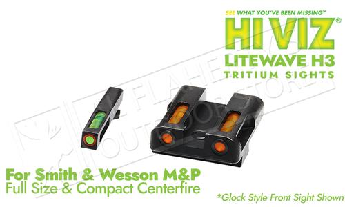 HiViz LiteWave H3 for SW M&P Full Size Frames - Green Front & Orange Rear with Orange Front Ring #MPN621