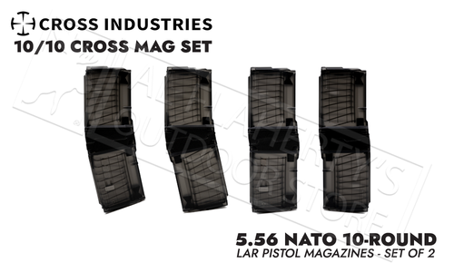 Cross Industries 5.56 NATO 10/10 Cross Mag Coupling AR-Pistol 10-Round Magazine Set - Smoke Black #CM10AR15P55645