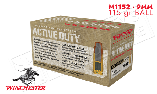 Winchester 9mm Active Duty 115 Grain FMJ-F Box of 100 #WIN9MHSC