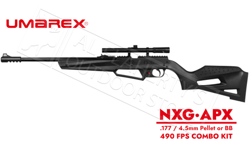 Umarex NXG APX Kit .177 Multi-Pump Black Youth air Rifle with 4x15 Scope 490 FPS #2251603