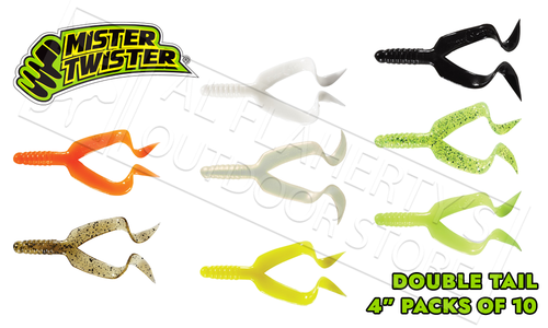 """Mister Twister Double Tail 4"""" - Packs of 10 Various Patterns #DT10"""