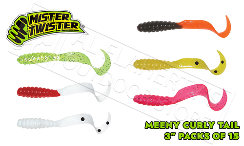 "Mister Twister Curly Tail Meeny, MultiColour 3"" Packs of 15 #MT15"