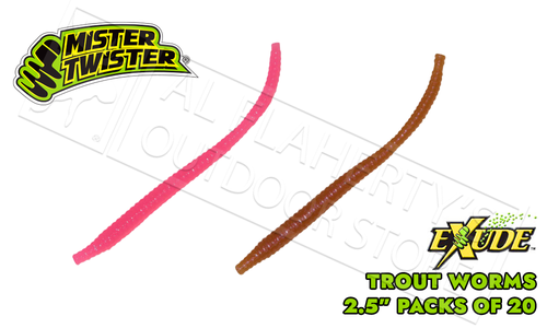 "Mister Twister Exude Trout Worms - 2.5"" Pack of 20 #ETW20"