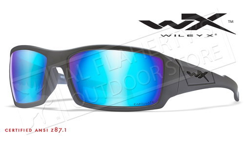 Wiley X Twisted Safety Sunglasses with Captivate Polarized Blue Mirror Lenses and Grey Frame #SSTWi09