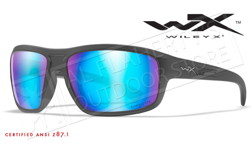 Wiley X Contend Safety Sunglasses with Captivate Polarized Blue Mirror Lenses and Matte Graphite Frame #ACCNT09