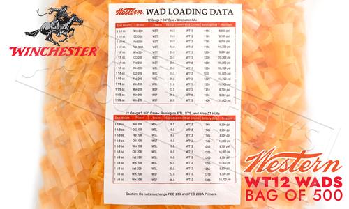 Winchester Western 12 GA Orange Target Wads #WT12