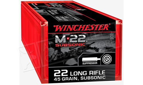 Winchester 22LR M-22 Subsonic, 45 Grains 100 Rounds #S22LRTSUP