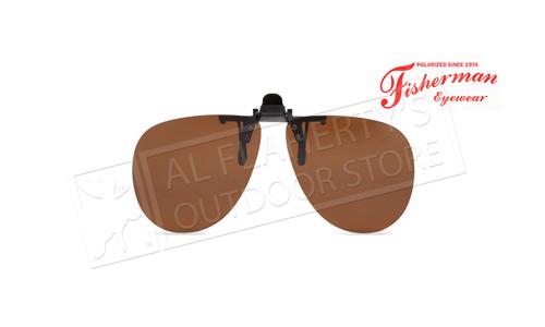 Fisherman Eyewear Simple Aviator Brown Polarized Lens Clip-Ons #90842