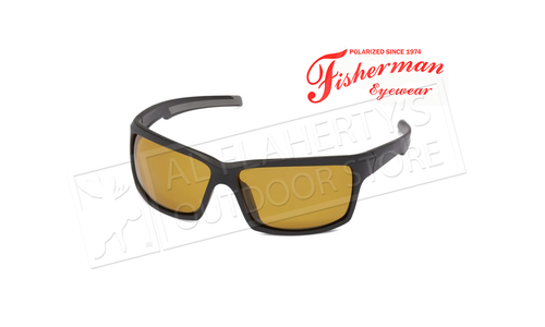 Fisherman Eyewear Marsh - Matte Black with Gray Rubber Inserts with Amber Lens #50683003