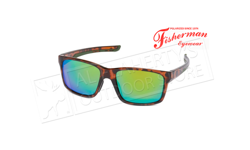 Fisherman Eyewear Pargo - Large Xtal Tort with Green Rubber Trim/Brown Lens with Green Revo #50713262