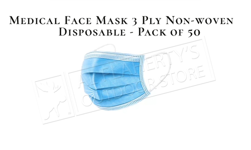 Medical Face Mask 3 Ply Non-woven Disposable 50 Pack #3030-1M
