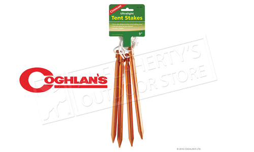 Coghlan's Ultralight Tent Pegs, Metal, Blaze Orange, Pack of 4 #100