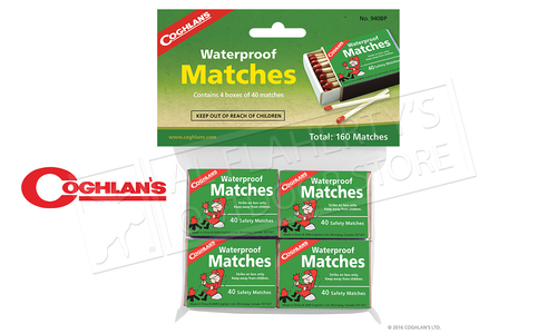 Coghlan's Waterproof Matches, 4 Pack, 120 Matches #940BP