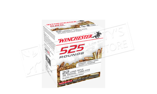 Winchester 22LR 525 Value Pack, 36 Grain JHP High Velocity, 1280 FPS, 525 Round Box #22LR525HP
