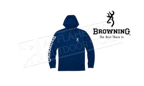 Browning Men's Hooded Tech Long Sleeve Shirt, Navy #301072950