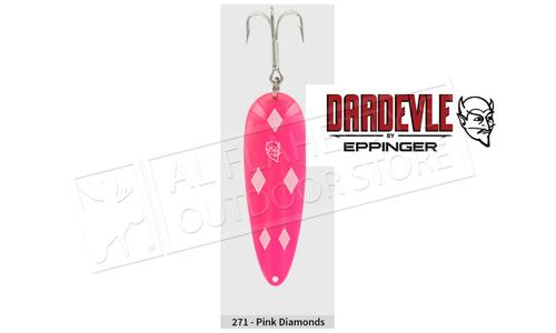 "Eppinger Dardevle Spoon, 3 5/8"", 1 oz, Pink/White Diamonds, Brass Back #271"