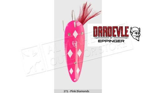 "Eppinger Weedless Dardevle Spoon, 3 5/8"", 1 oz, Pink/White Diamonds, Nickel Back #5-271"