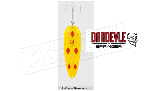 "Eppinger Dardevle Spinnie Spoon, 1 3/4"", 1/4 oz, Yellow/Red Diamonds, Brass Back #917"