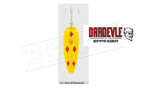 "Eppinger Dardevlet Spoon, 2 7/8"", 3/4 oz, Yellow/Red Diamonds, Brass Back #117"