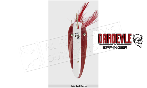 "Eppinger Weedless Dardevle Spoon, 3 5/8"", 1 oz, Red/White Stripe, Nickel Back #516"
