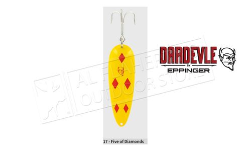 "Eppinger Dardevle Spoon, 3 5/8"", 1 oz, Yellow/Red Diamonds, Brass Back #17"