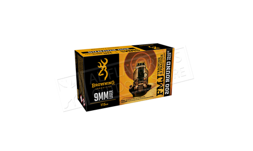 Browning Ammo 9mm FMJ Target 115 Grain FMJ 200 Rounds Value Pack #B191800096