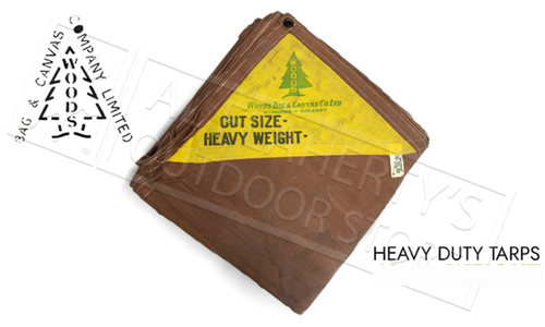 Woods Vintage Heavy Duty Canadian Made Canvas Tarps - Brown 20 oz. Various Sizes
