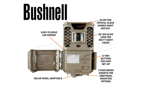 Bushnell Prime Trail Camera 24MP Low Glow Combo with 16 GB Memory Card & Battery #119932CB