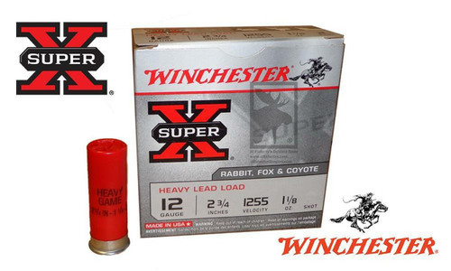 "Winchester Super X Heavy Upland Shells 12 Gauge #2, 4, 6, 7-1/2 Shot, 2-3/4"", 1-1/8 oz., 1255 fps, Box of 25 #XU12H"
