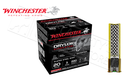 "Winchester Drylok Super Steel Magnum Waterfowl Shells 20 Gauge 3"" #2 Shot Size Box of 25 #XSM203"