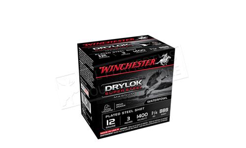 "Winchester Drylok Super Steel Waterfowl Shells 12 Gauge 3"", #BBB 1-1/4 oz. 1400 fps, Box of 25 #XSC123"