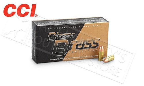 CCI BLAZER BRASS 9MM, 124 GRAIN FMJ, BOX OF 50