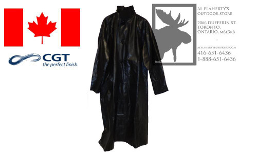 1950S CANADIAN SURPLUSBLACK VINYL FULL LENGTH RAINCOATS