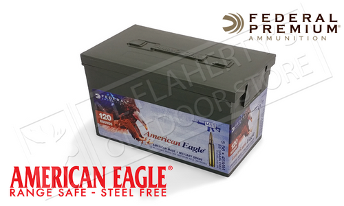 AMERICAN EAGLE 5.56X45 NATO XM193, FMJ 55 GRAIN BOX OF 120