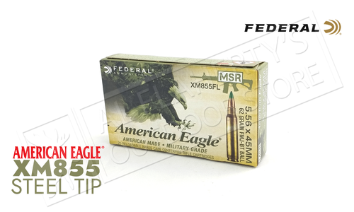 Federal American Eagle 5.56x45mm XM855 FMJ-BT 62 Grain Box of 20 or $259.99 for 500 Rounds (Bulk pricing available) #XM855FL