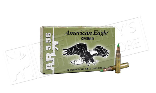 AMERICAN EAGLE 5.56X45MM XM855, FMJ-BT 62 GRAIN BOX OF 20