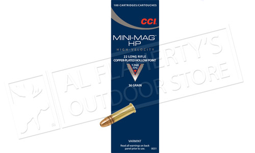 CCI 22LR Mini-Mag, High-Velocity, 36 Grain CJHP, Box of 100 #0031