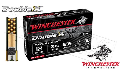 "12 GAUGE - WINCHESTER DOUBLE X BUCKSHOT SHELLS, 2-3/4"" 00-BUCK, BOX OF 5"